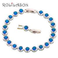ROLILASON azul marinho Festa Prata Charme Pulseiras Jóias Da Moda para As Mulheres de casamento Aniversário de Varejo Por Atacado do item TB645