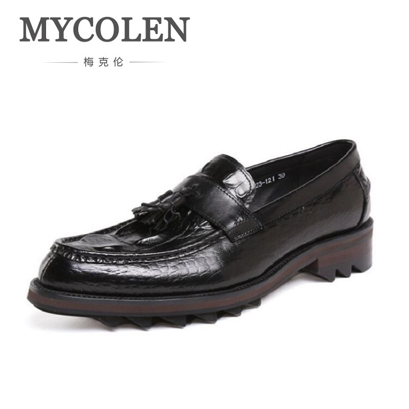 MYCOLEN Brand Designer Genuine Leather Men Shoes Luxury Loafers Black Crocodile Pointed Casual Shoes Men Mocassini Uomo mycolen mens casual genuine leather flats loafers for men comfortable business wine red black crocodile print man leather shoes