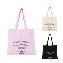 Letter printing canvas bag multi-color optional green shopping ladies shoulder cotton
