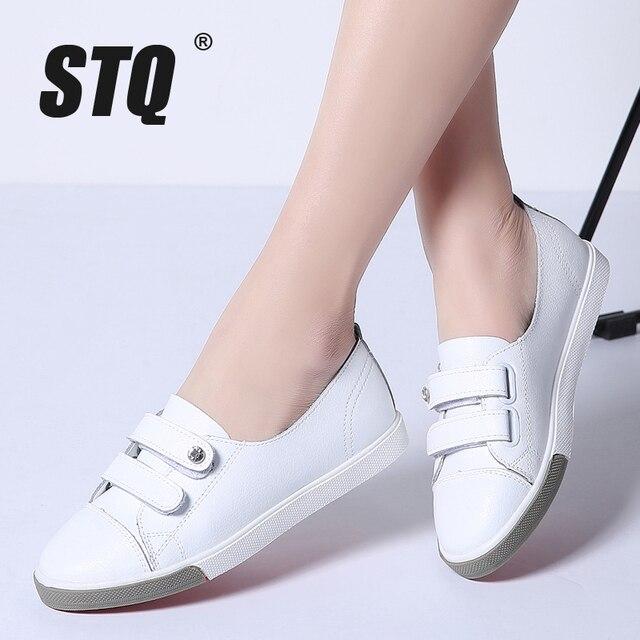 STQ 2020 automne femmes chaussures plates dames sans lacet ballerines mocassins en cuir chaussures femmes décontracté bateau chaussures dames blanc baskets 180