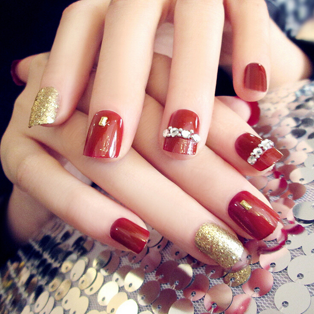 24pcsset Sexy Red Acrylic Full Cover False Nails Square Nail Art