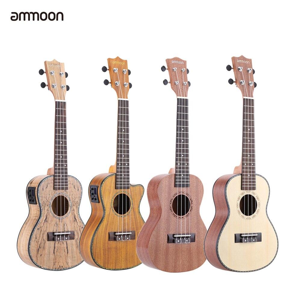 """Ammoon 24 """"deadwood (material raro) ukulele com led eq cowry escudo brims osso de boi sela 4 cordas presente instrumento"""