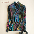 Pure Wool Shirt And Double Female Merino Wool Printing Long Sleeved Turtleneck