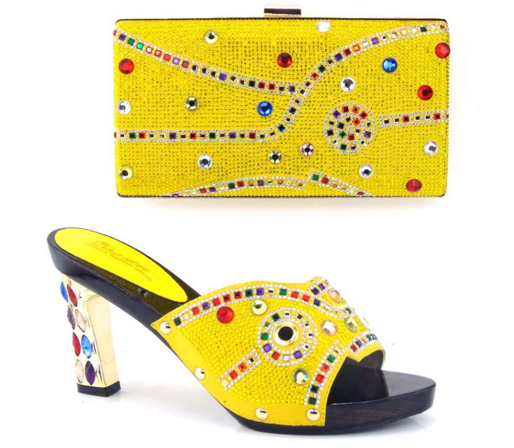 (TH16-39)New 2016 Nice design woman shoes matching bag with crystal shoes matching bag for party Yellow size 37-43