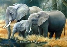 Elefant Familie Trinken Voller Diamant-stickerei Stickerei Diy Diamant Malerei Wand Dekorative Harz Stein Quadrat Bohrer