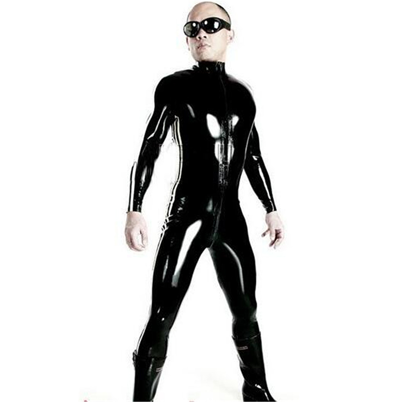 Super Cool <font><b>Sexy</b></font> Men Black Patent Leather Jumpsuit Vinyl Latex Bondage Catsuit Double Zip Wetlook Leotard Bodysuit Size S - <font><b>XXXL</b></font> image