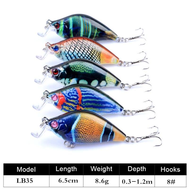 5Pcs/lot Minnow 6.5cm 8.6g Hard Fishing Lures Crankbait 0.3m-1.2m Floating Wobblers Best Crank Hard Bait for Sea Carp Fishing