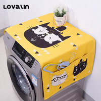 Lovalin Cute Washing Machine Dust Cover Waterproof Washing Machine Covers With Storage Bag For Kitchen Household Accessories