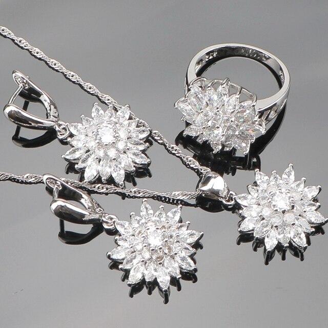 Silber 925 Brautmodeschmuck Sets Frauen Hochzeit Schmuck Mit Weißen Steinen Ohrringe Anhänger & Halsketten Ringe Set Geschenkbox