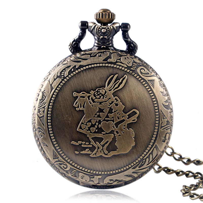 Cute Bronze Rabbit Alice In Wonderland Men Women Quartz Pocket Watch Chain Necklace Pendant Fashion Women Dress Retro Gifts