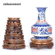 Pierced Ebony Antique Vase Base Wood Craft Home Accessories Aquarium Vase Seat Decoration Crafts Base Home Furnishing