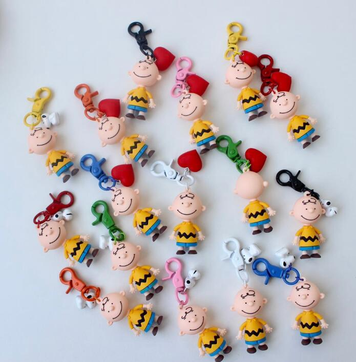 10 pcs 3D Cartoon Japanese anime peanut boys dogs color women PVC Key Chains Pendant kids Gifts Party Favors 3D red love heart