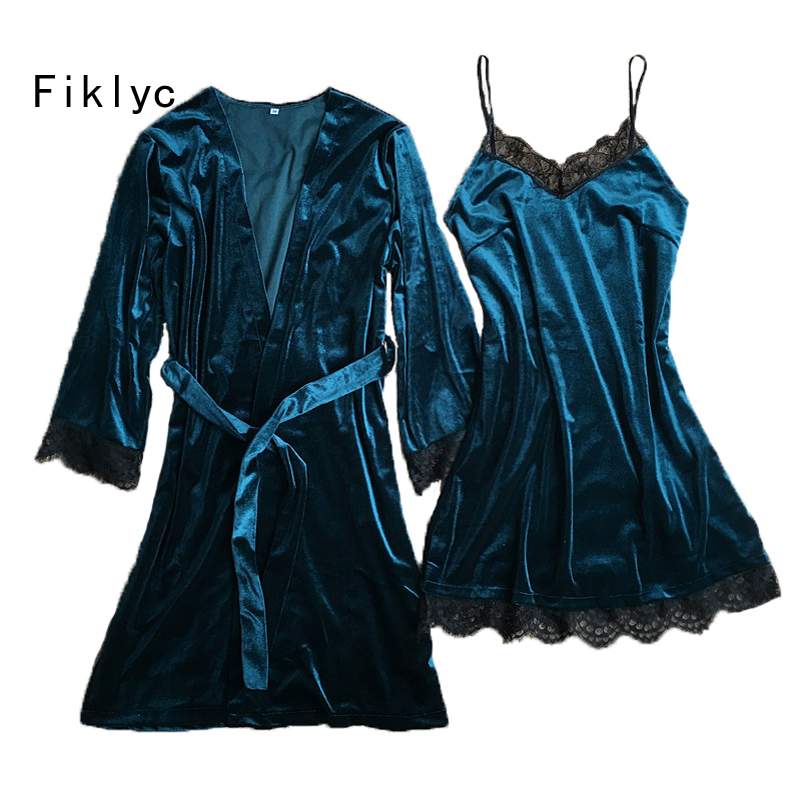 Fiklyc Brand Velvet Women Winter Two Pieces Robe & Gown Sets Luxury Lace Sexy V-neck Female Nightwear Nightdress + Bathrobe NEW
