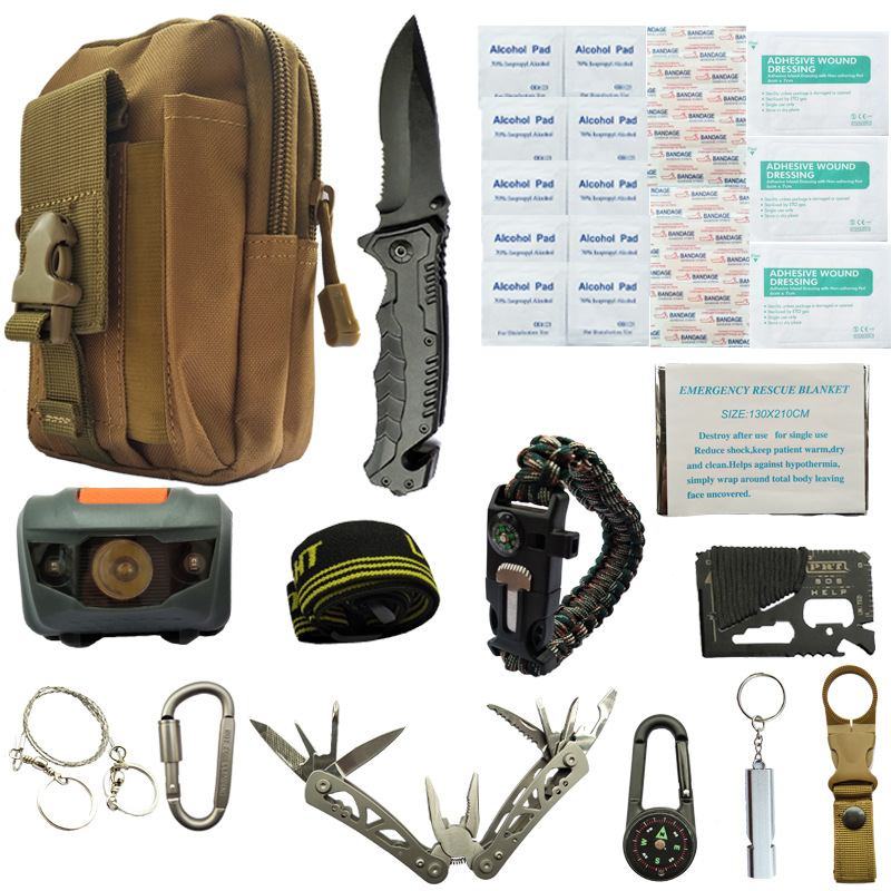 11 In 1 First Aid EDC Emergency Supplies Tactical Survival Kit Set SOS Outdoor Camping Travel Multifunction  For Wilderness