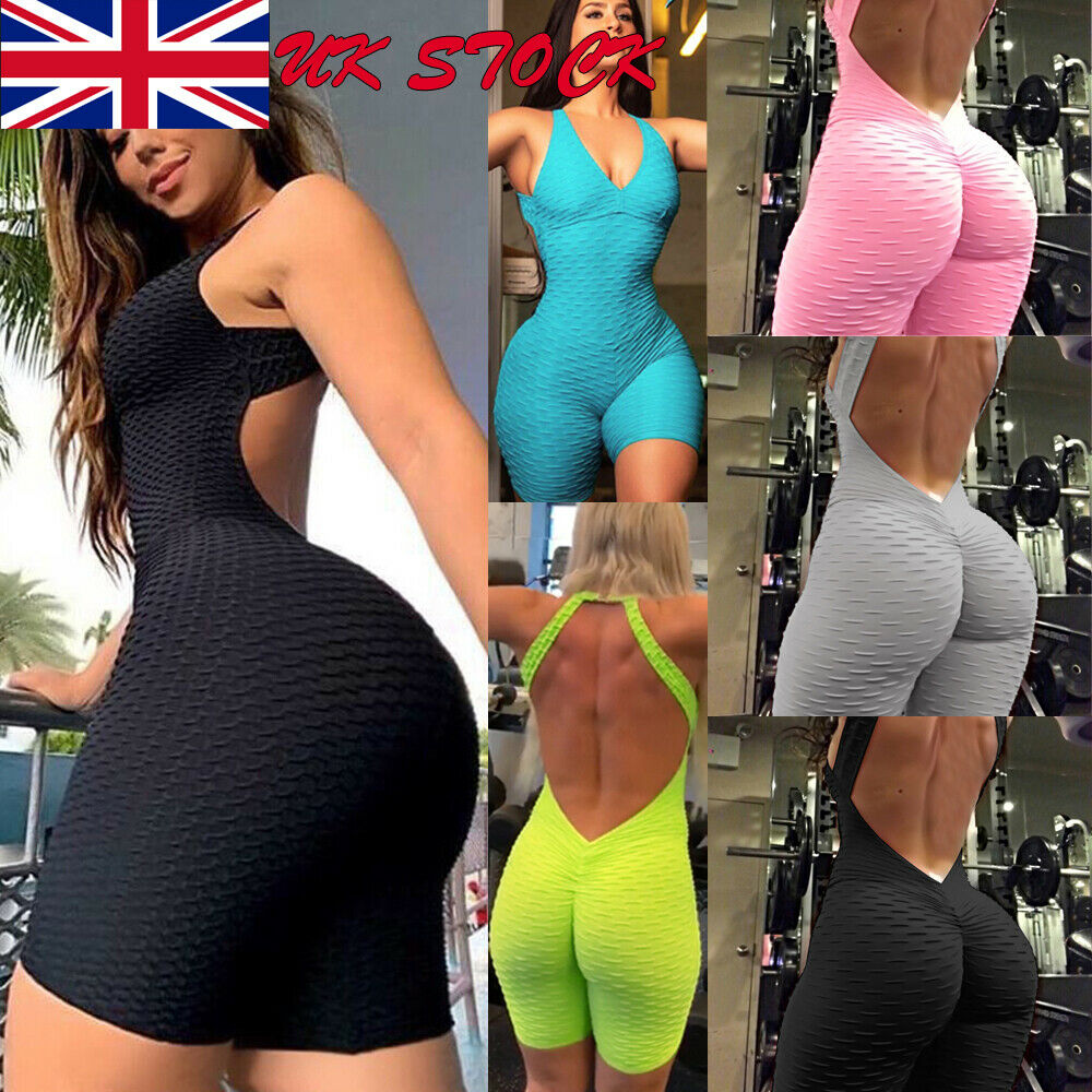 HIRIGIN New Sexy Backless Playsuit Fitness Tights Jumpsuits Costume Yoga Sport Suit Gym One Piece Bodysuit Tracksuit For Women