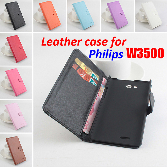 Brand Litchi Grain For Philips W 3500 Case Cover High Quality Leather Case Back cover With Wallet For Philips W3500 Case Phone