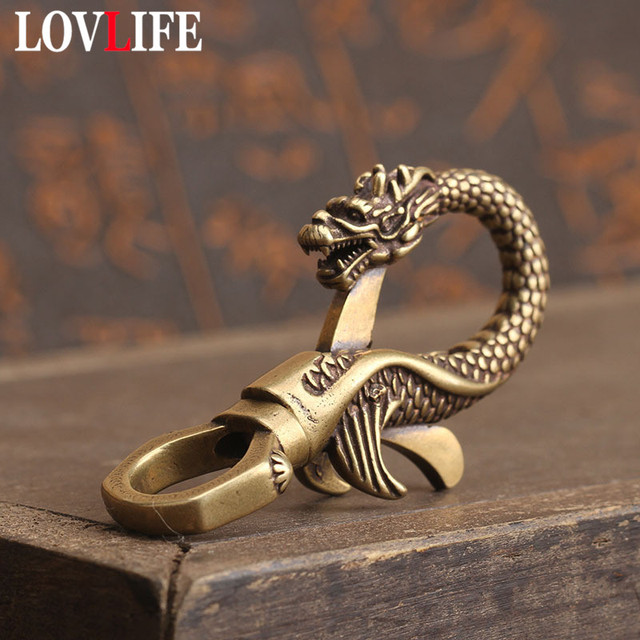 Copper Dragon Head Keychain Antique Craft Key Chains Lobster Clasps Keyring Waist Buckle Brass Metal Vintage Car Key Holder Gift