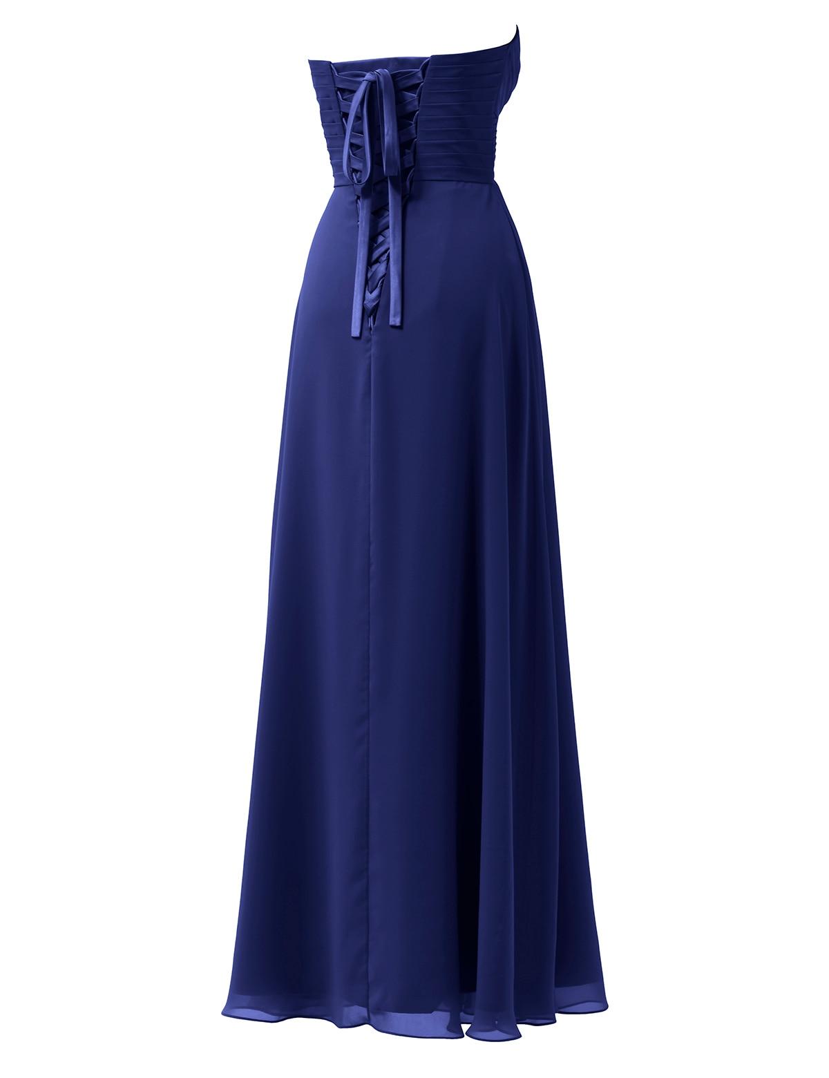 Royal Blue Brautjungfer Kleid Lange Echt Proben Liebsten Chiffon ...