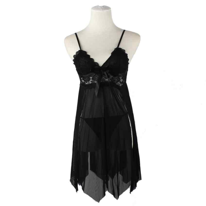 656cedeb32c21 Hot Sexy Lingerie Women Underwear Babydoll Sleepwear Lace Dress Nightwear  Open Plus Size Night Gown lingerie calcinha 18Aug9