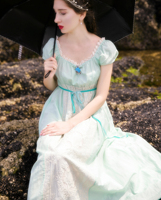 Jessica S Store New Women Summer Mint Green Cotton Vintage Royal Wind Lace Embroidered Long Dress