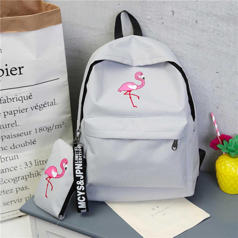 Plecaki marki kobiety prosty nadruk flaminga plecak dla nastoletnich dziewcząt torby szkolne na laptopy Mochila 2020
