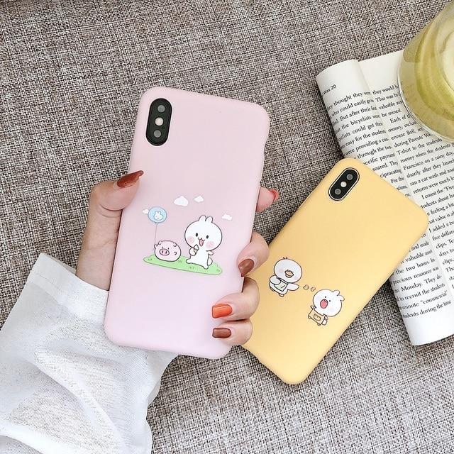 لطيف الحيوان زوجين حقيبة لهاتف أي فون X XS XS ماكس XR 6 6S 7 8 Plus لينة آيفون 7 غطاء واقي للشاشة الوردي غطاء الهاتف هدية