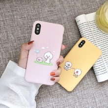 สัตว์น่ารักคู่สำหรับ iphone X XS XS Max XR 6 6 S 7 8 Plus Soft iphone 7 ฝาครอบ TPU Screen Protector ปกโทรศัพท์สีชมพูของขวัญ