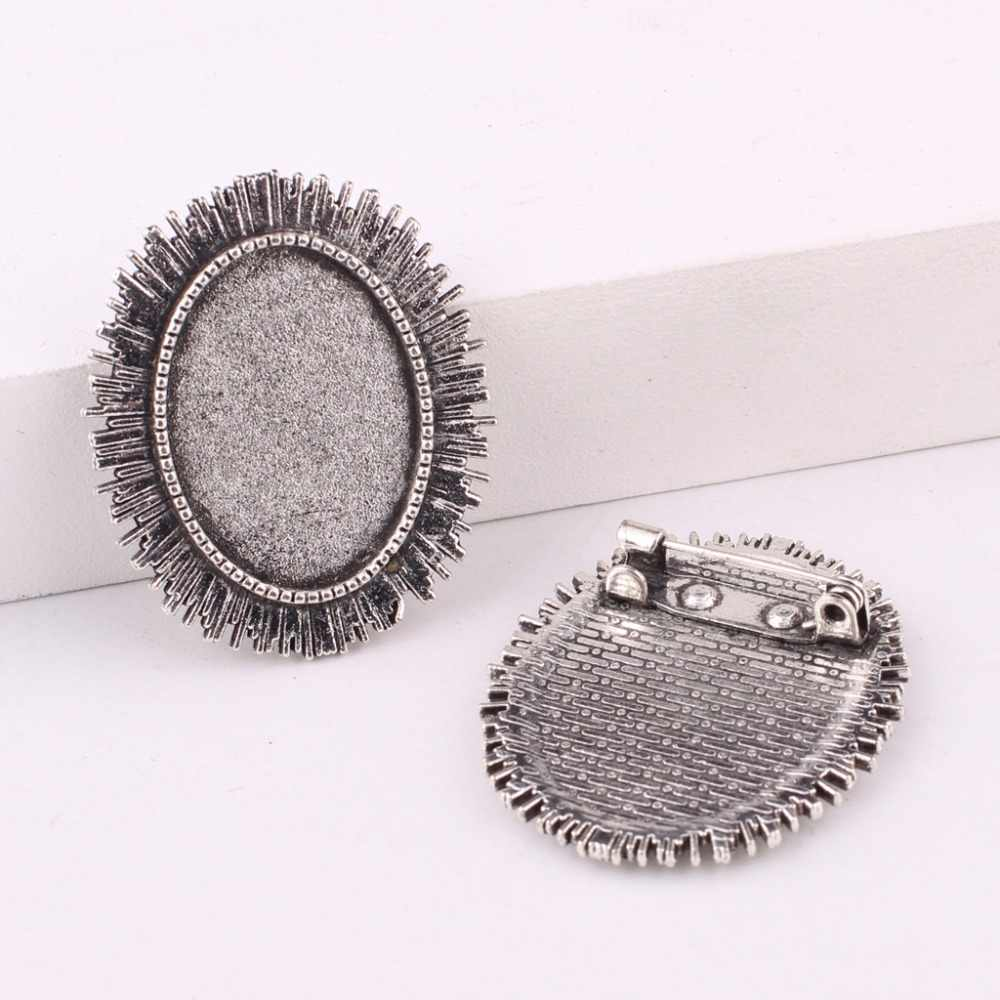 Reidgaller 10pcs Crystal Rhinestone Metal 25mm cabochon Brooch Base Setting pins DIY Bezel Blanks for brooches Making
