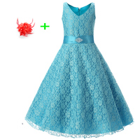 Blue Red Black Children Wedding Party Dress for Kids Sleeveless Full Lace Turquoise Dresses for Weddings Girls 8 To Age 13 14 15