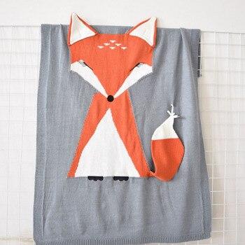 цена на New fox knitting Newborns baby child blanket big ear Knitted cover blanket beach mat bed linings bz2