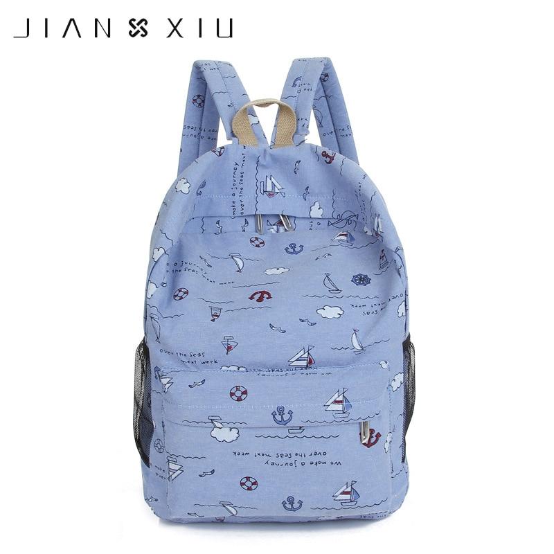 Jianxiu Women Female Backpack Girls' Schoolbags Canvas Graffiti Backpacks Bag Dots Print Travel Student Bags Big Capacity