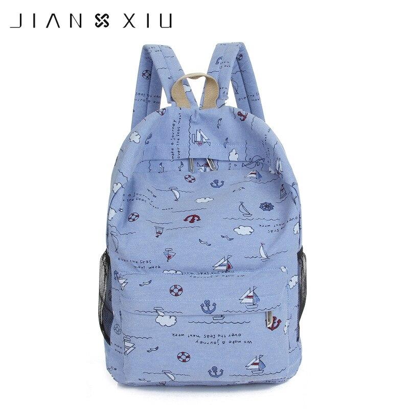 JIANXIU mujeres mochila femenina niñas mochilas de lona Graffiti bolso puntos impresión viaje estudiante bolsas gran capacidad