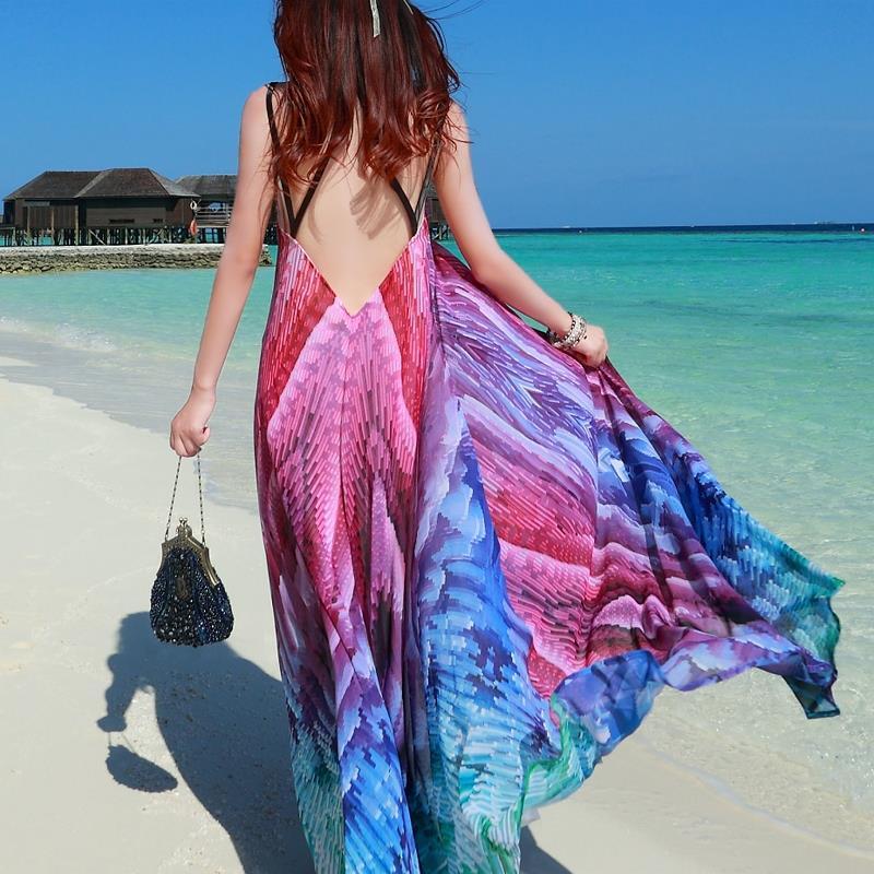 2017 Fashion Women Dress Vintage Vestidos Desigual Women Maxi Dress Sexy Backless Peacock Printing Long Dress