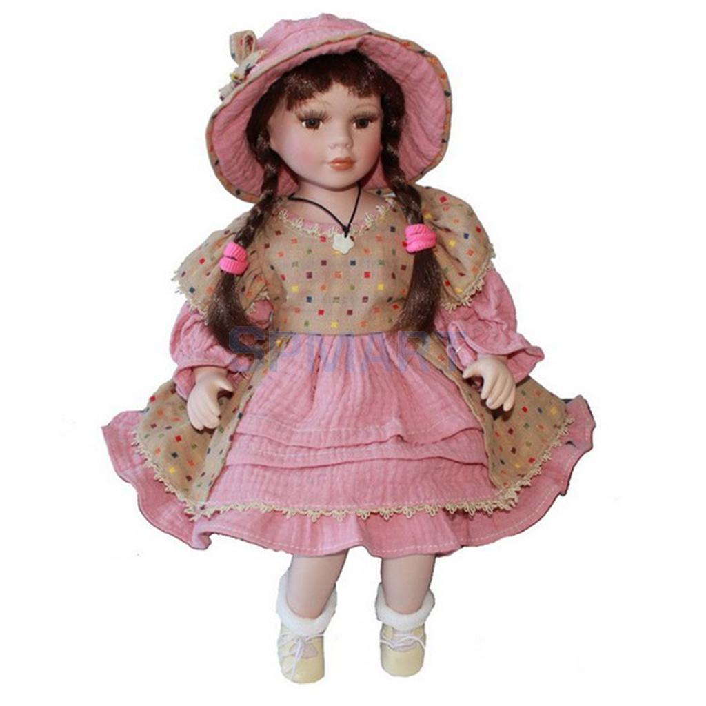 Geburtstag Weihnachten Geschenk-40cm Exzellente Verarbeitung Puppe DIY Zubehör Vintage Porzellan Dame Mädchen Puppen mit Display Stand #2