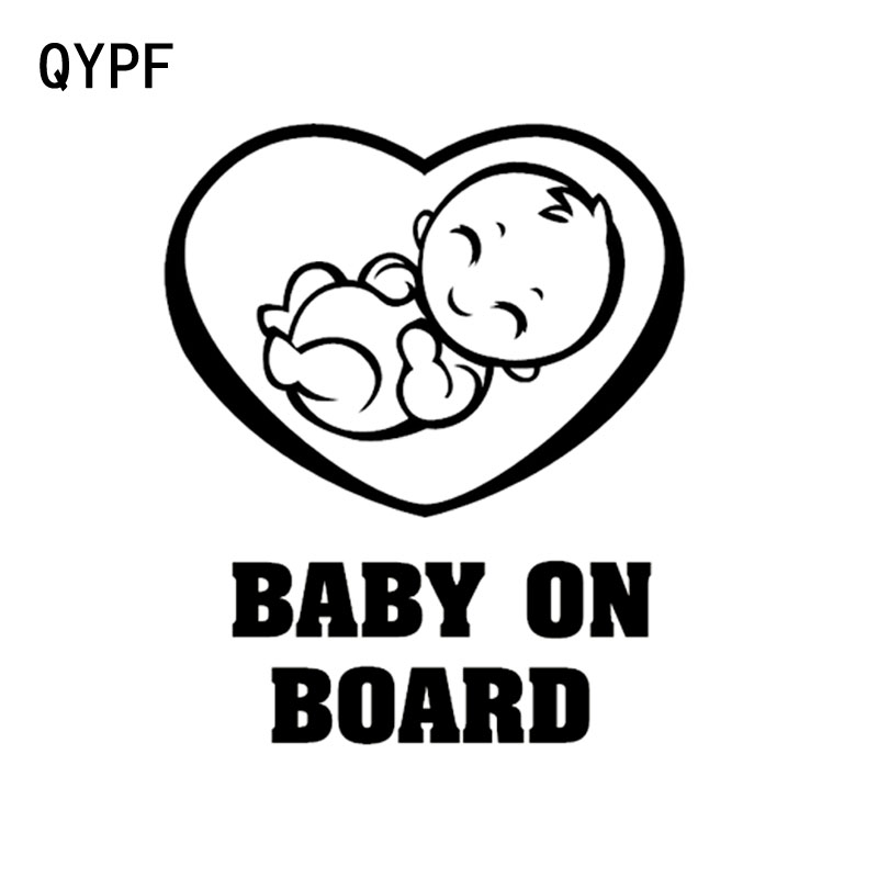 QYPF 13CM*15.5CM Lovely BABY ON BOARD Baby In The Car Stickers Warning Vinyl Decals Decoration S9-2031