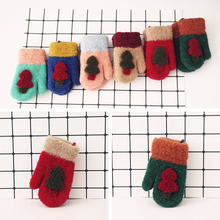 Children's Christmas Tree Cartoon Hanging Neck Gloves Imitation Cashmere Mittens Double Thick Warm Gloves