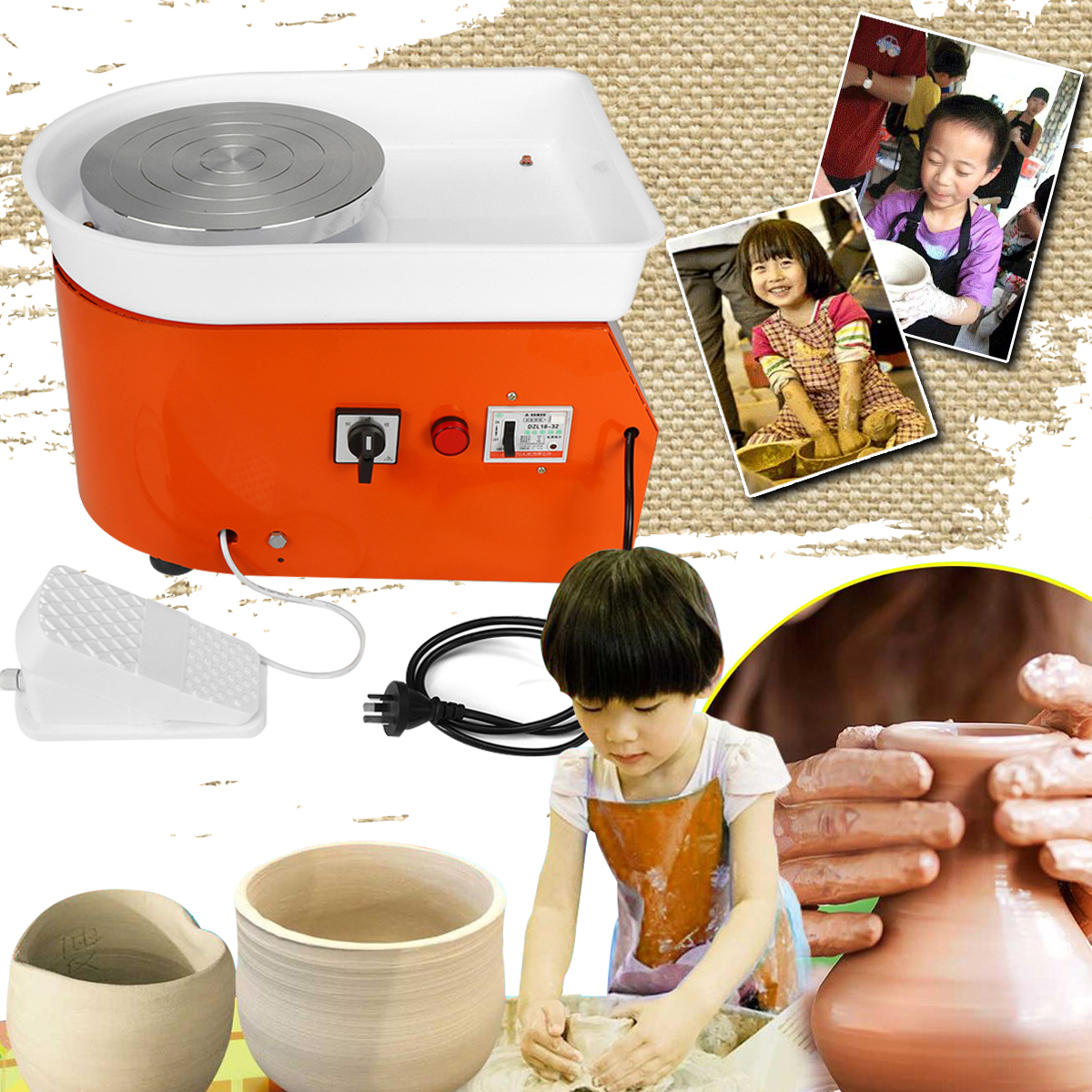 25cm Pottery Wheel Machine Ceramic Work Ceramics Clay Art EU/AU AC220V 250-350W With Mobile Flexible Foot Pedal Smooth Low Noise 25cm 350w pottery wheel pottery diy clay machine for ceramic work ceramics clay 220v children learning machine