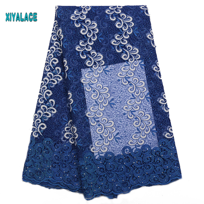 African Lace Fabric 2019 High Quality Nigerian Lace Fabrics Embroidery French Tulle Lace With Stones Fabric YA2286B-1