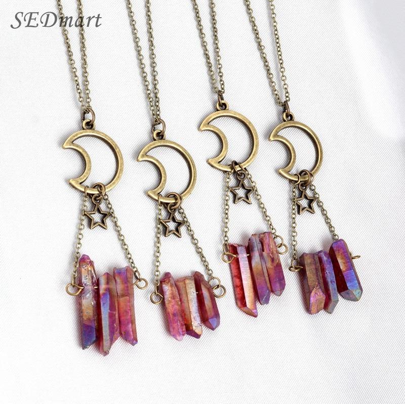 SEDmart Handmade Aura Quartz Moon Star Pendant Necklace Shiny Natural Stone Necklace Women Healing Crystal Collar Necklace