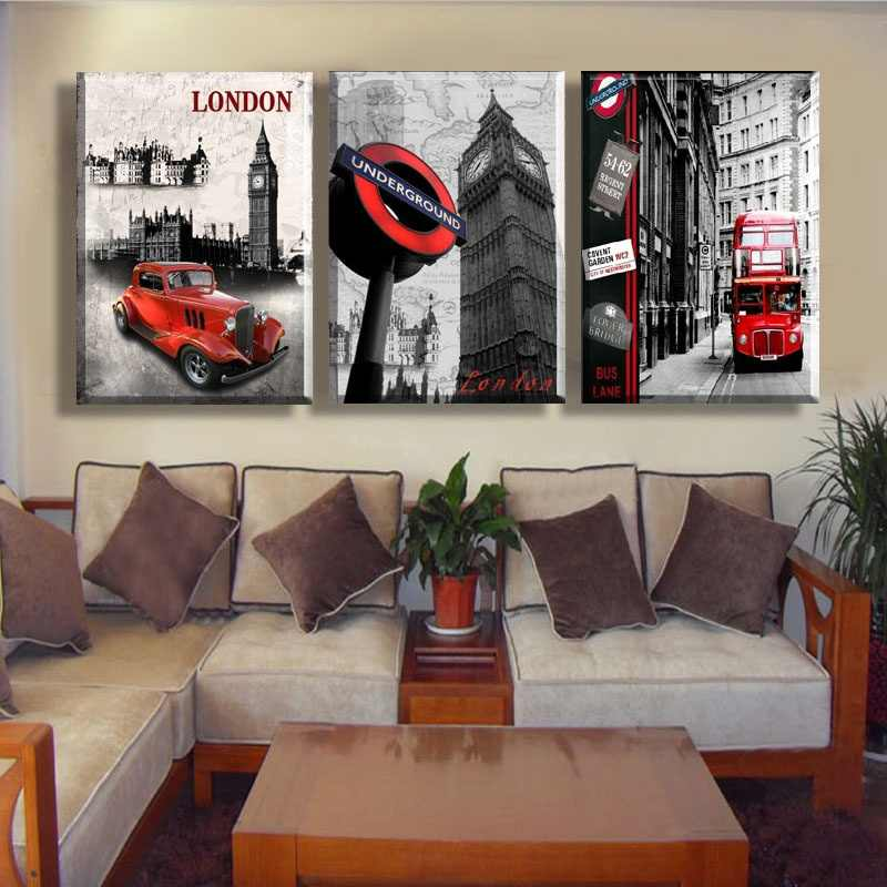 HD Modern 3pcs London Scenery Canvas Paint Board Oil Wall Art London Bus Car Big Ben Landscape Print Picture