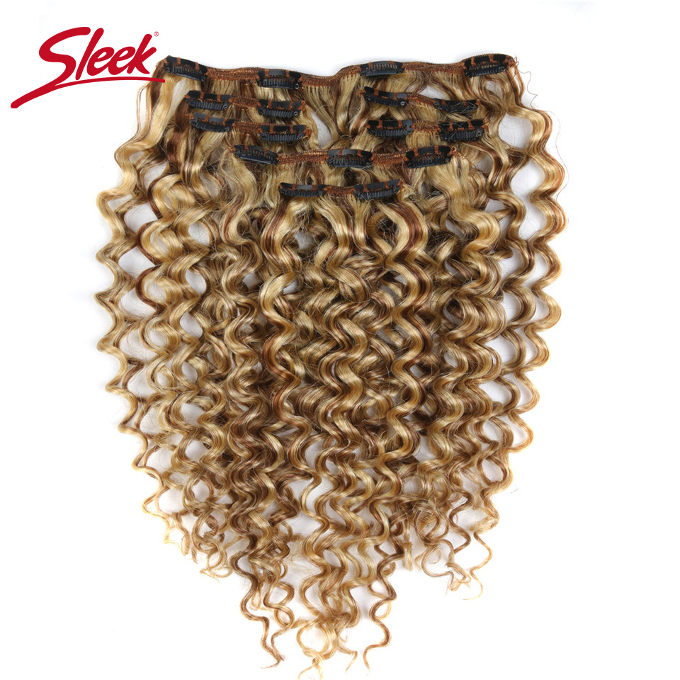 Sleek Hair 7Pcs Clip In Human Hair Extensions Indian Jerry Curly Piano Color P6/613 Full Head Sets Remy Hair Extension