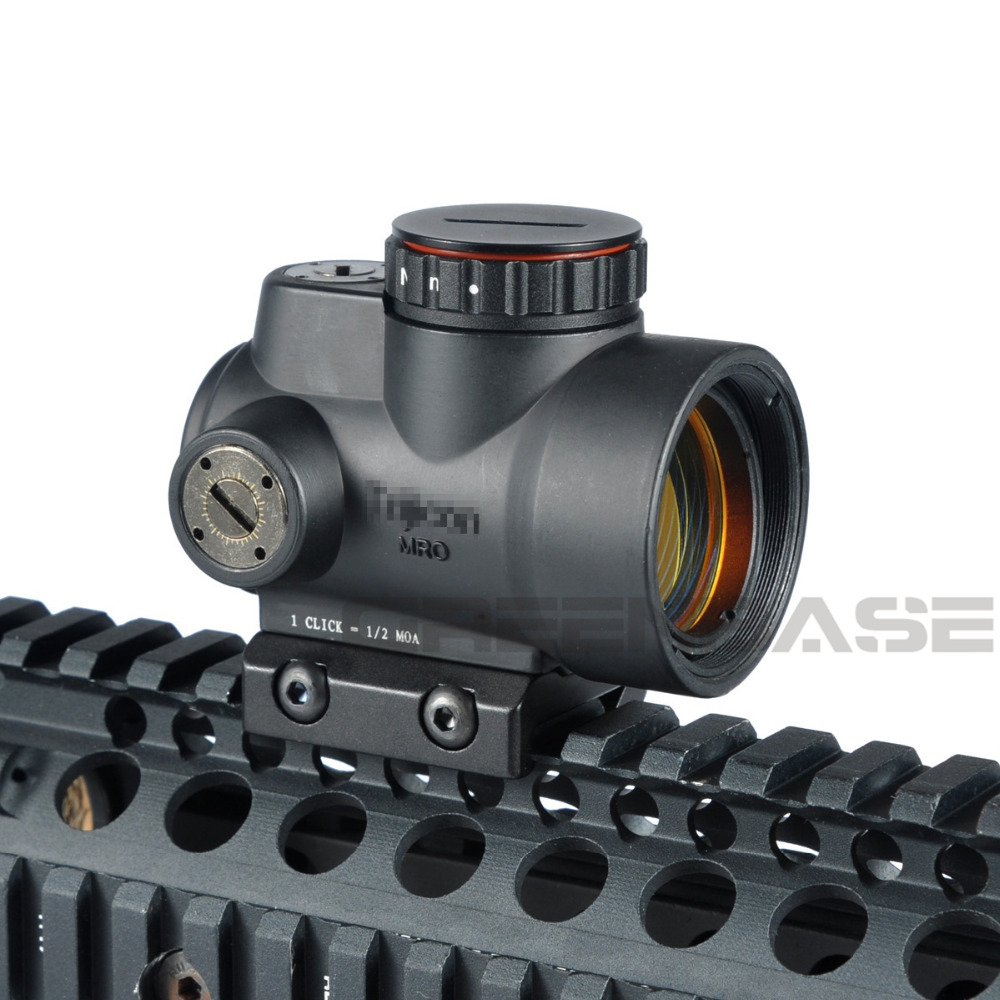 Greenbase Triji MRO 1x Red Dot Sight 2 MOA Tactical Red Dot Scope With Low / High Mount Airsoft Riflescope Hunting Shooting tactical 1x red dot sight scope qd picatinny rail mount hunting shooting black 558 m7101