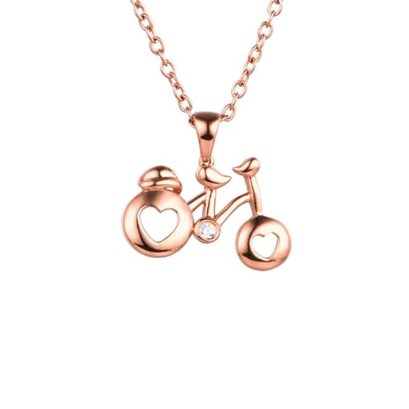 Romantic Cute Valentine Days Gifts Bike Heart Pendant Love Necklace Accessory Fashion Women 18K Gold Jewelry Collares mujer 1G cute love heart hollow out kitten pendant necklace for women