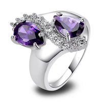 Wholesale New Jewelry Fashion Purple Amethyst & White Topaz 925 Silver Ring Size 7 8 9 10 Fashion Jewelry Women\'s Gift Free Ship