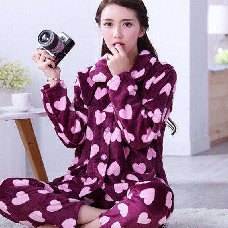 Winter Women's Pyjamas Print Love Thick Flannel Warm   Pajama     Set   Long Sleeve Full Trousers Two Piece 2018 Top Fashion