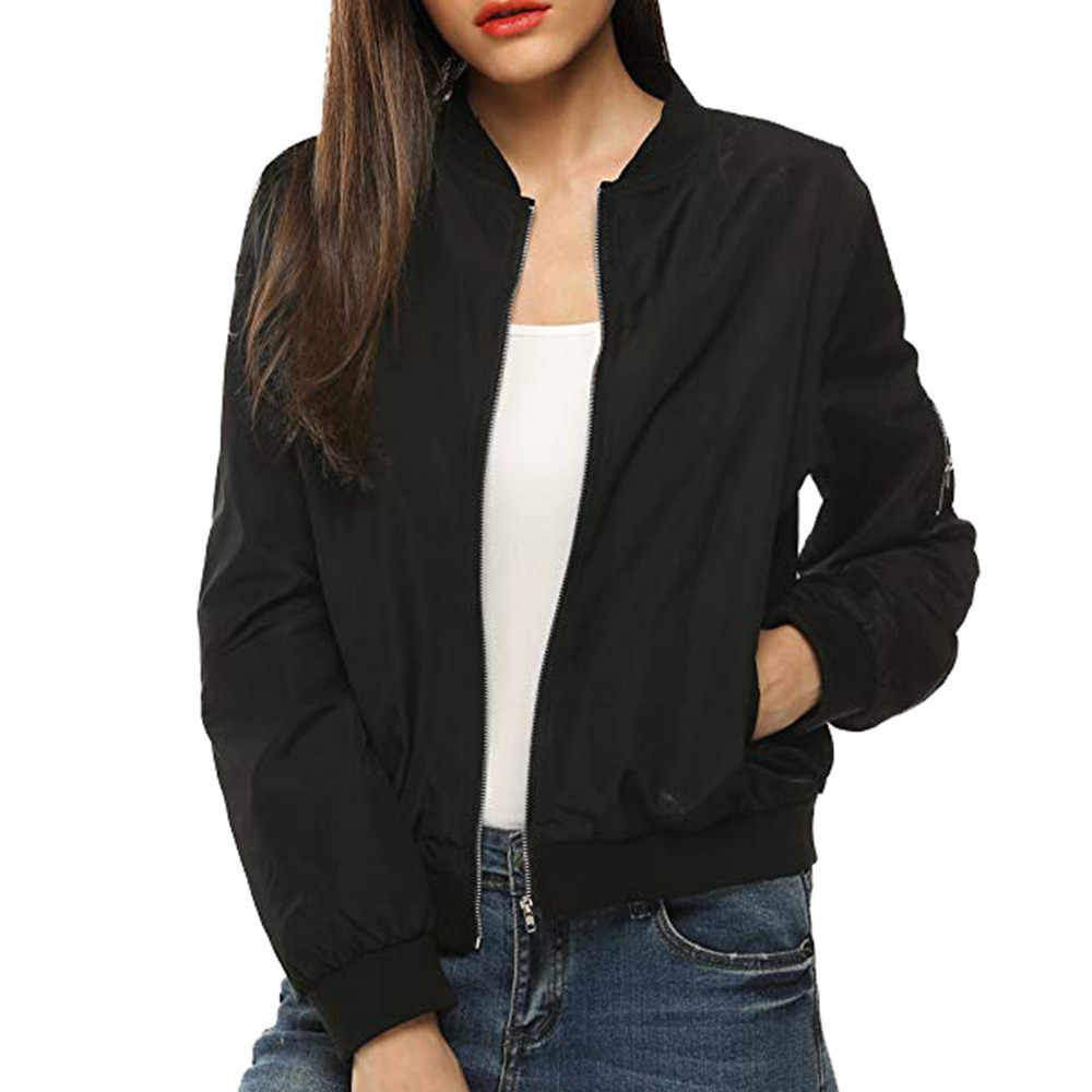 Womens Classic Quilted Jacket Short Bomber Jacket Coat Ladies zip fly jacket Chaqueta con cremallera de las mujeres