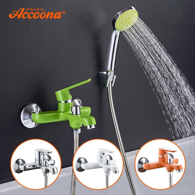 Accoona красочные ванной смеситель для душа набор лакированный Смесители для ванной комнаты латунь смеситель для ванны Водопад классический В...