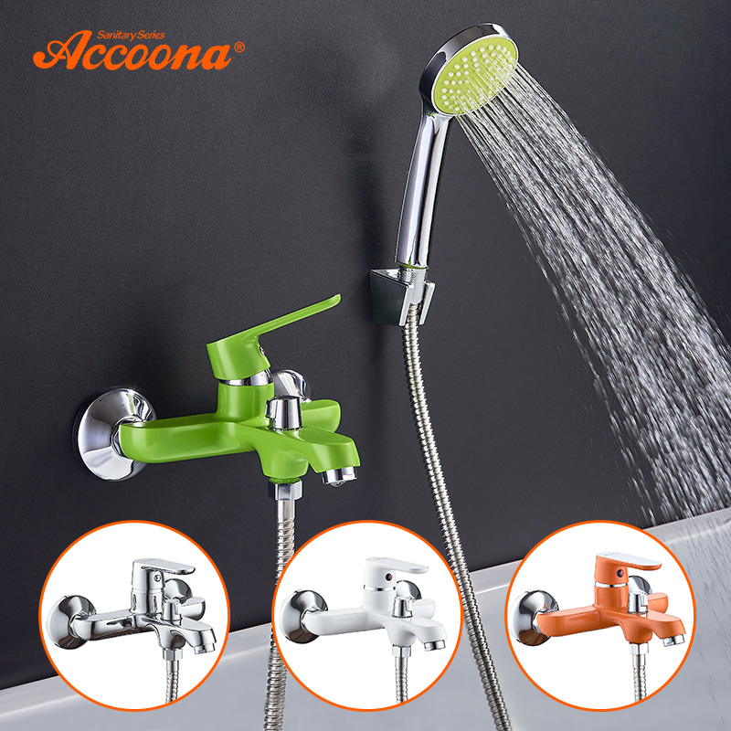 Accoona Colorful Bathtub Faucet Shower Set Lacquered Bathroom Faucets Brass Bath Faucet Waterfall Classic Bathroom Faucet A6366 цена 2017