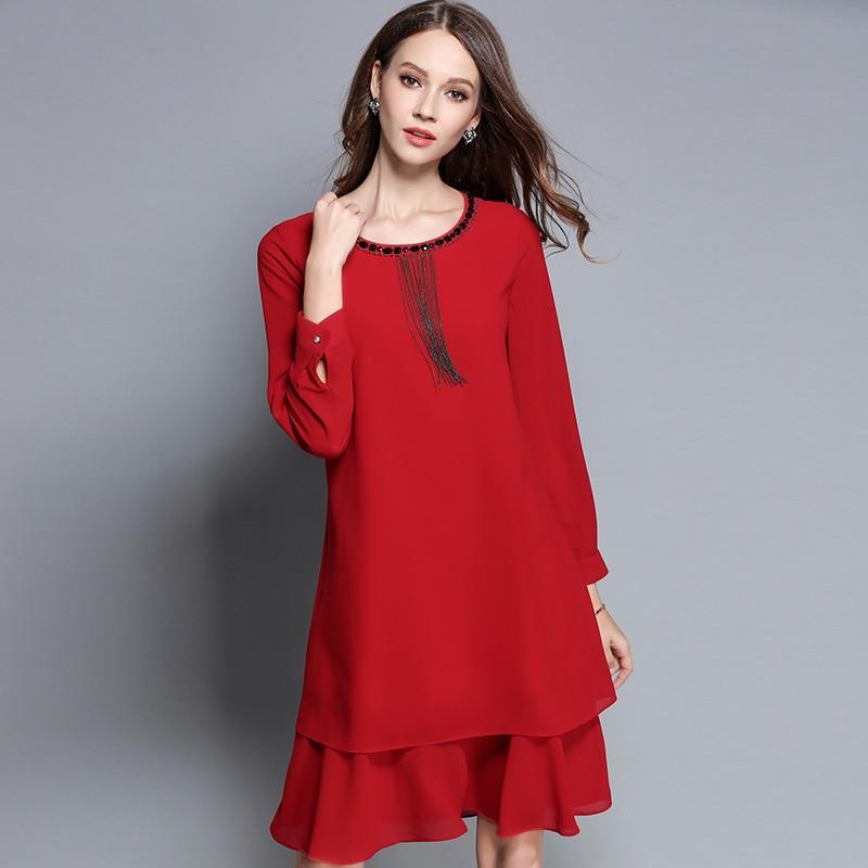 2017 Autumn Fashion Ladies Plus size ruffled chiffon dress beaded elegant one piece dresses female casual