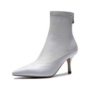 Image 4 - Ince tasarım hakiki deri avrupa tarzı yüksek topuklu ince oxford sivri burun fermuar beyaz siyah renk orta buzağı çizmeler l27